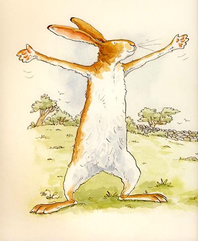 """小兔子认真的告诉大兔子""""我好爱你"""",而大兔子回应小兔子说:""""我更爱你!"""