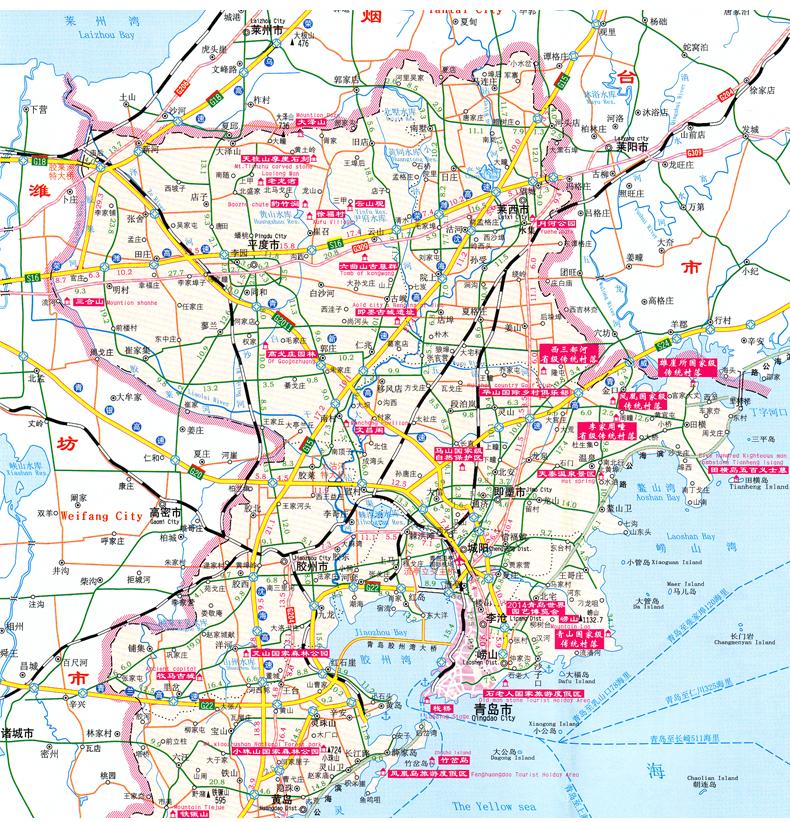 青岛市地图2018新版青岛城市全图山东青岛旅游地图青岛崂山五
