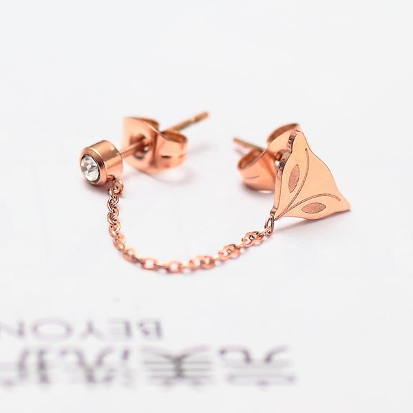 桃心镶钻双耳洞连体耳钉耳链双耳钉女耳环个性饰品_双耳洞 狐狸耳钉