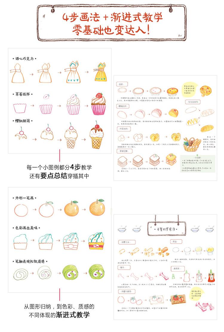 1001个萌萌哒简笔画,色铅笔画美味 9787517038184