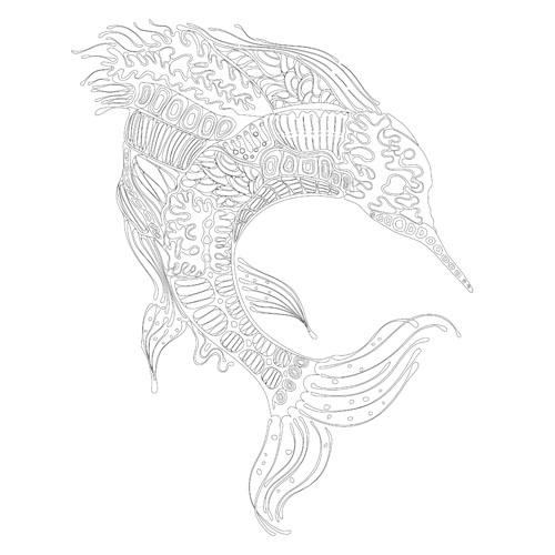 手绘插画黑白海洋