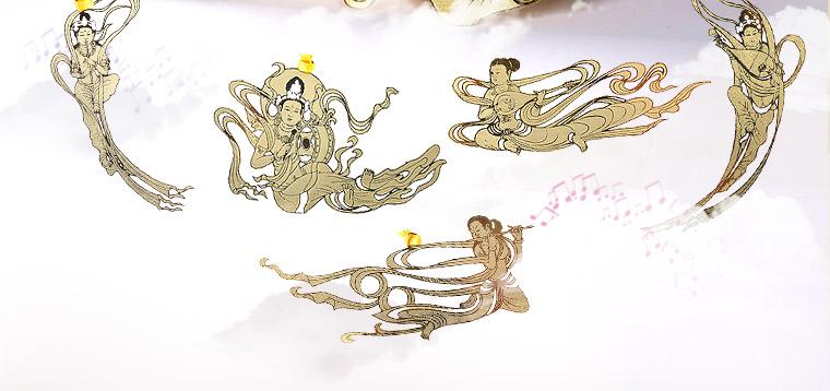 敦煌艺术飞天书签 当当自营 柳琴飞天 黄铜材质 镂空创意高档金属书签图片