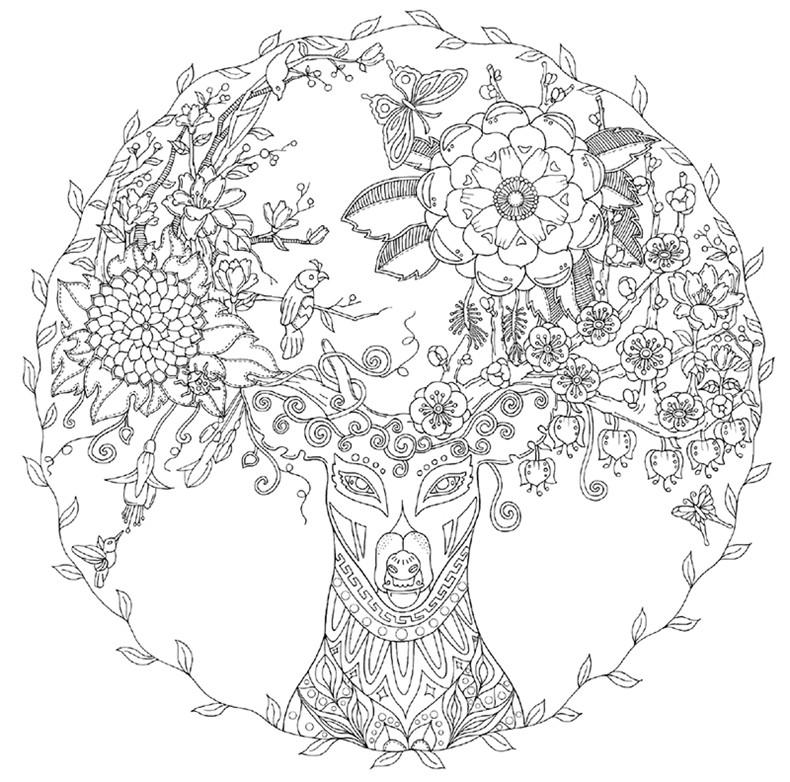 花环手绘黑白图片